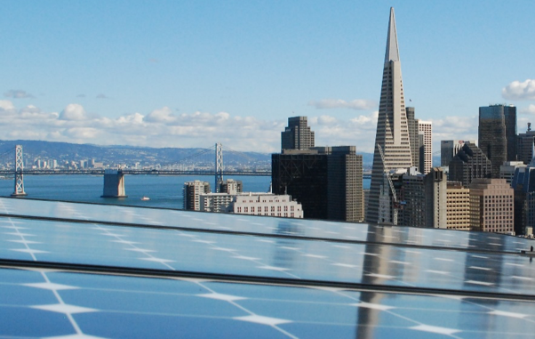solar panels with view of downtown SF