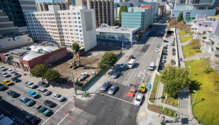Aerial view of 4th and Folsom Street intersection