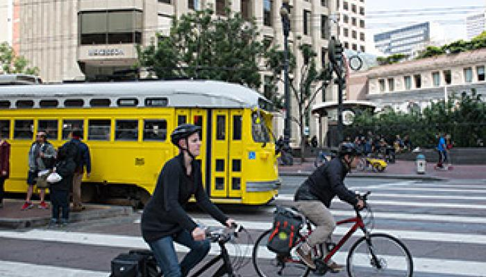 cyclists and a trolley on Market Street