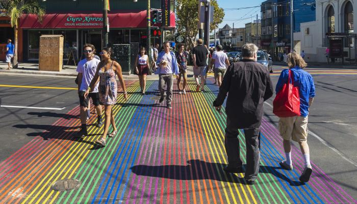 Photo of rainbow crosswalk on Castro Street