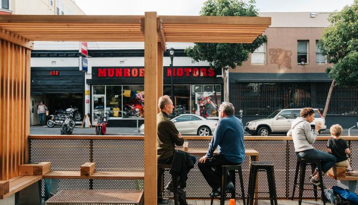 Photo of a parklet used as public space