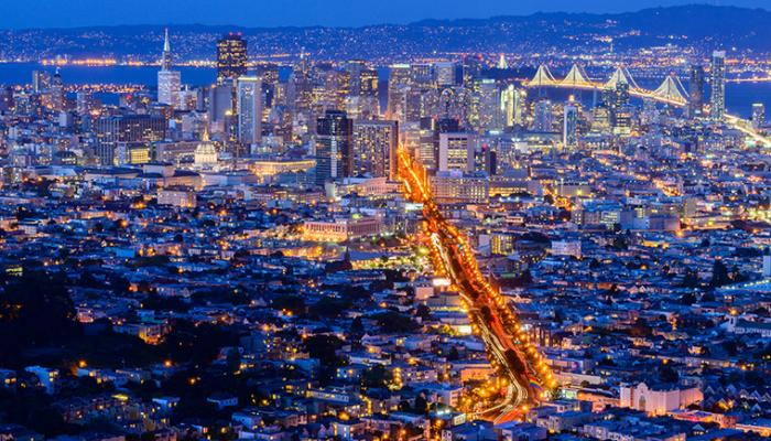 Aerial evening view of San Francisco