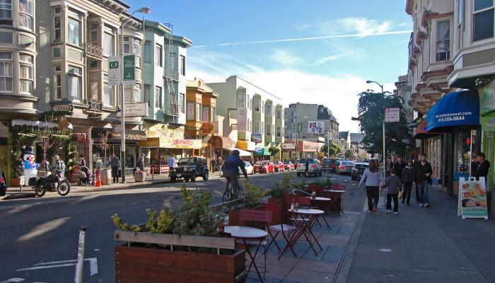 A busy Polk Street during daytime
