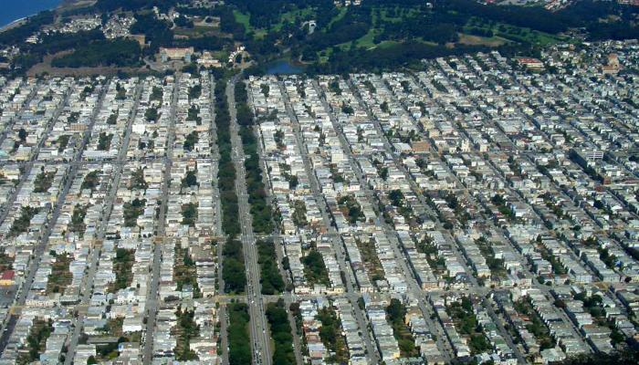 Aerial view of tree lined streets