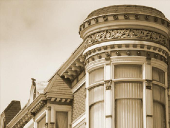 architectural detail of exterior of a victorian house