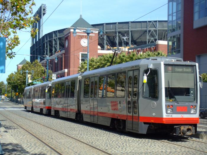 Muni train with AT&T Park