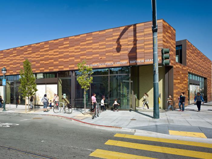Exterior of Bayview Library photo by Bruce Damonte